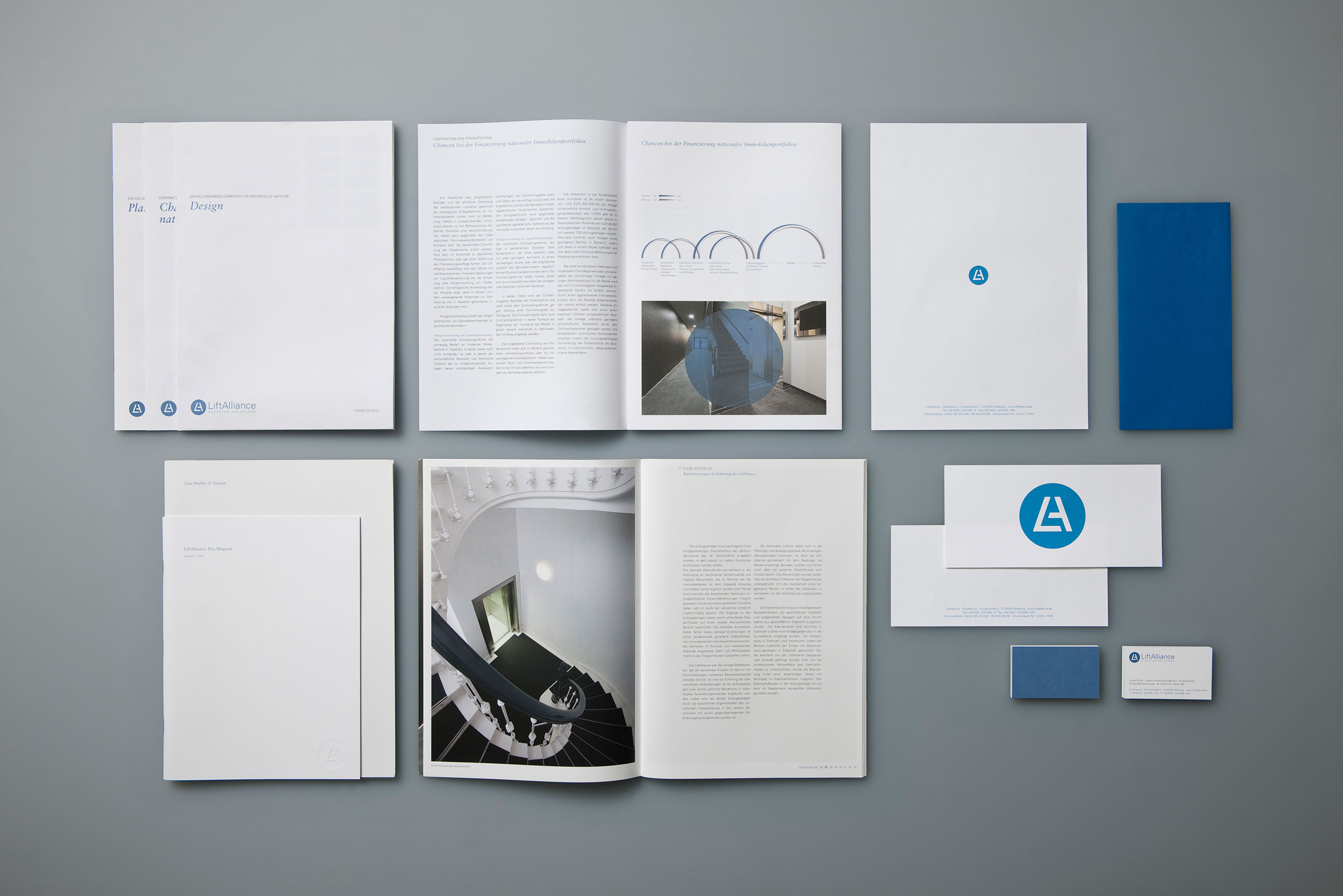 Aufzugshersteller, Infografik, Broschüre, Flyer, Geschäftsausstattung, Complimentslip, Briefbogen, Briefpapier, Visitenkarte, Einleger
