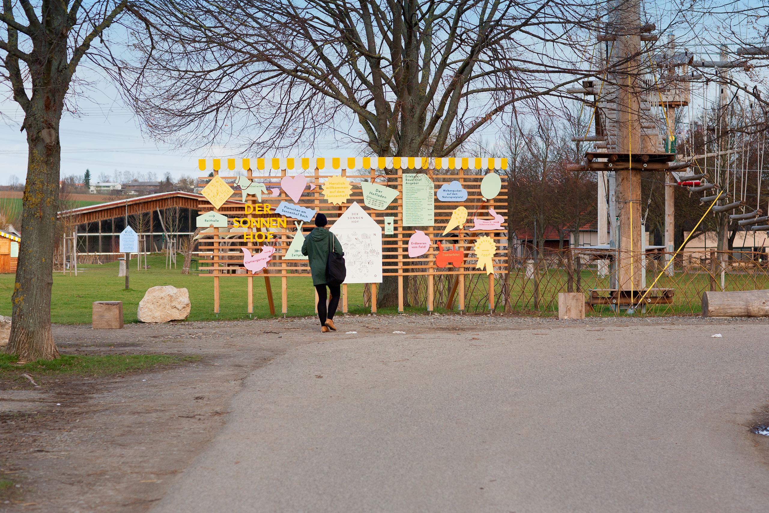 Beschilderung, Schilderwald, Spalier, Bauernhof