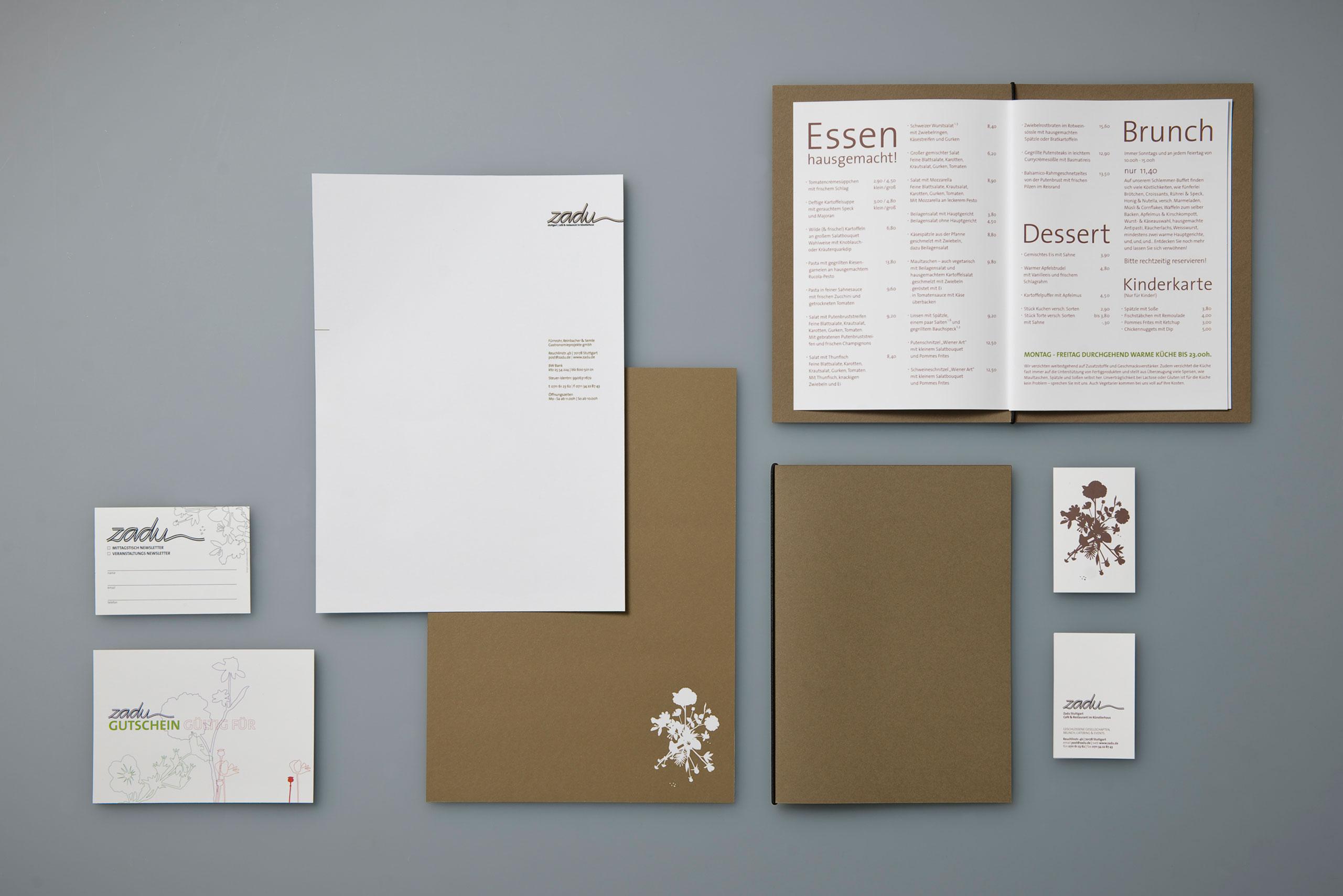 Geschäftsausstattung, Briefbogen, Visitenkarte, Speisekarte, Restaurant, Stuttgart, Corporate Design