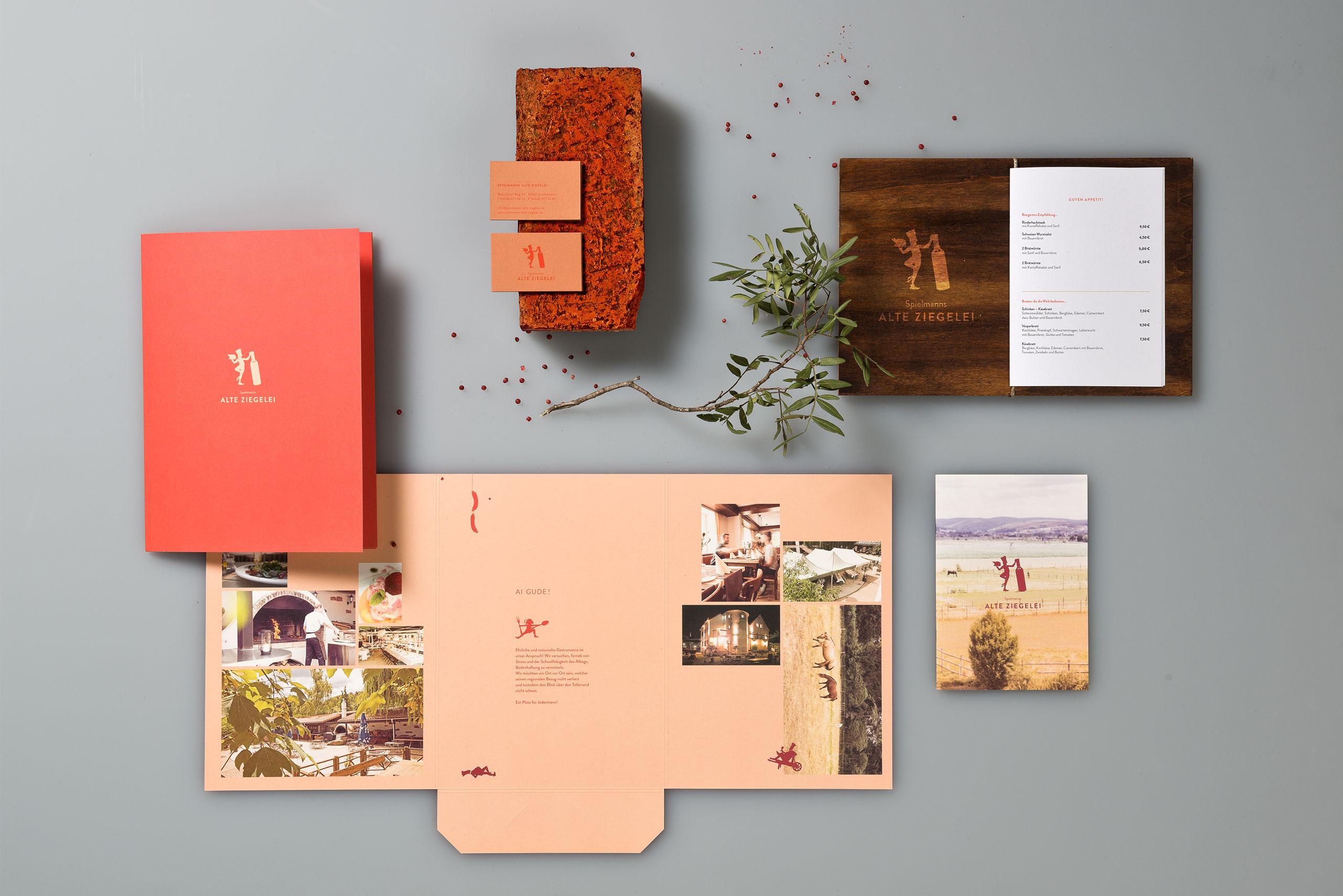 Mappe, Visitenkarten, Speisekarte, Illustration, Biergarten, Restaurant