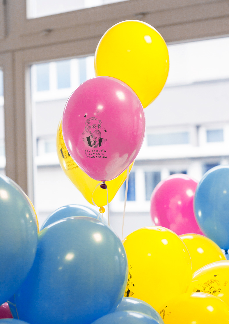 Corporate Design Schule, Gymnasium, Dillmann, Luftballons