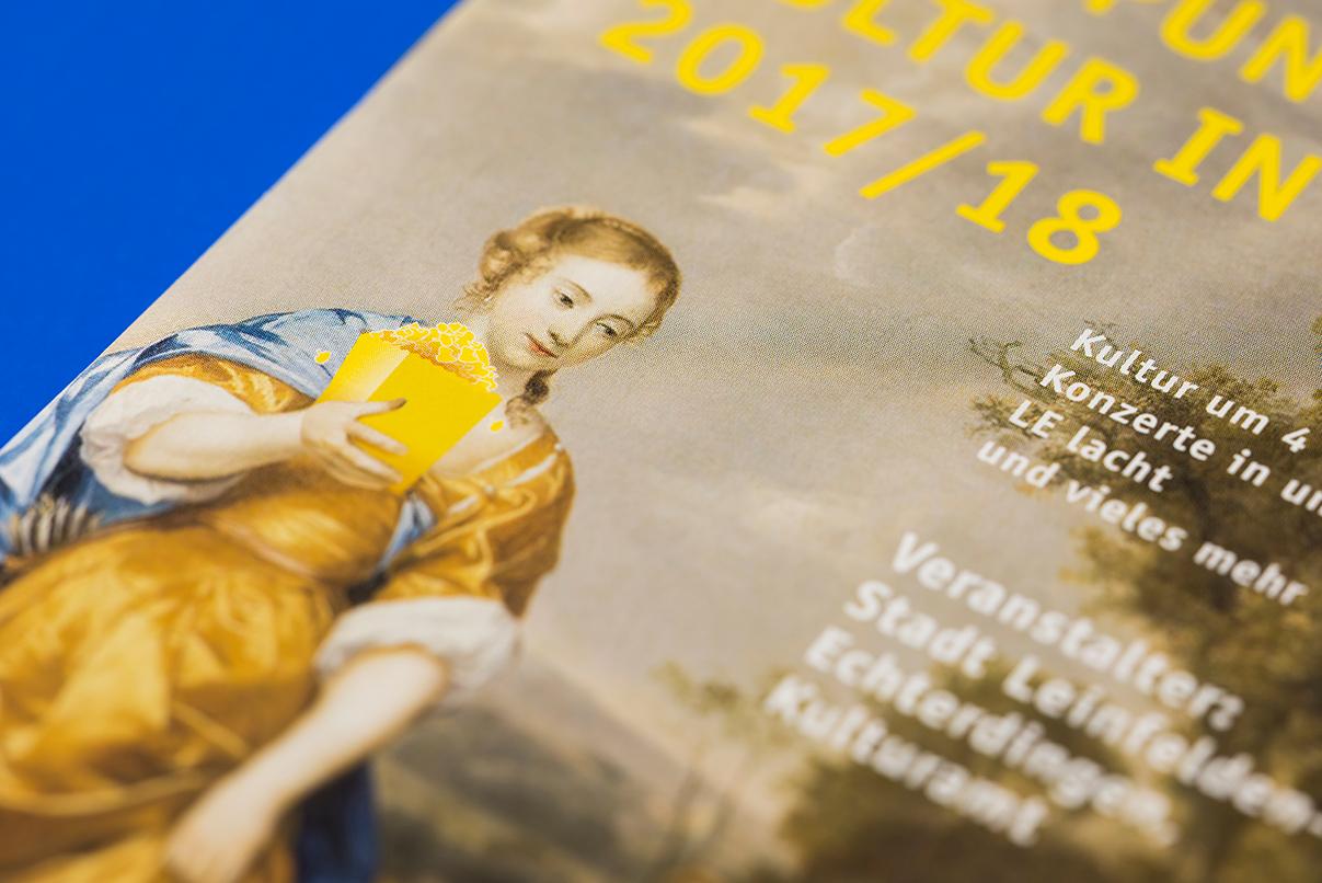 Kultur in LE, Lesezeit in LE, Leinfelden Echterdingen, Broschüre, Heft, Kulturamt, Editorial Design, neues Erscheinungsbild, Popcorn
