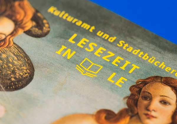 Kultur in LE, Lesezeit in LE, Leinfelden Echterdingen, Broschüre, Heft, Kulturamt, Editorial Design, neues Erscheinungsbild, Logo