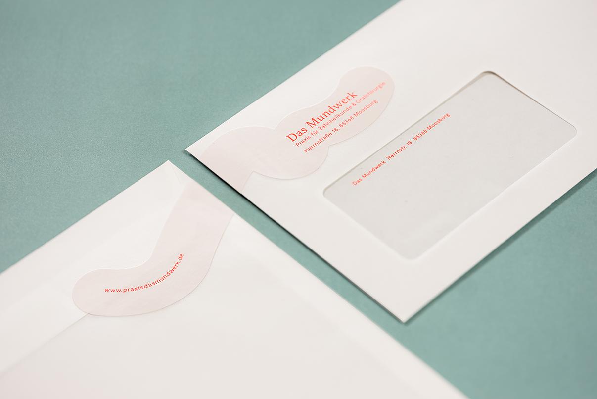 Zahnarzt, Briefumschlag, Corporate Design, das Mundwerk, Geschäftsausstattung