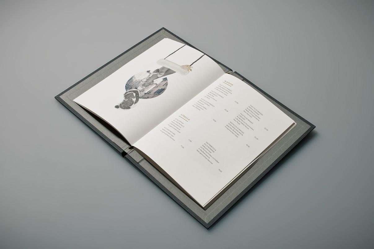 Speisekarte, Illustration, italienisches Restaurant, Stuttgart