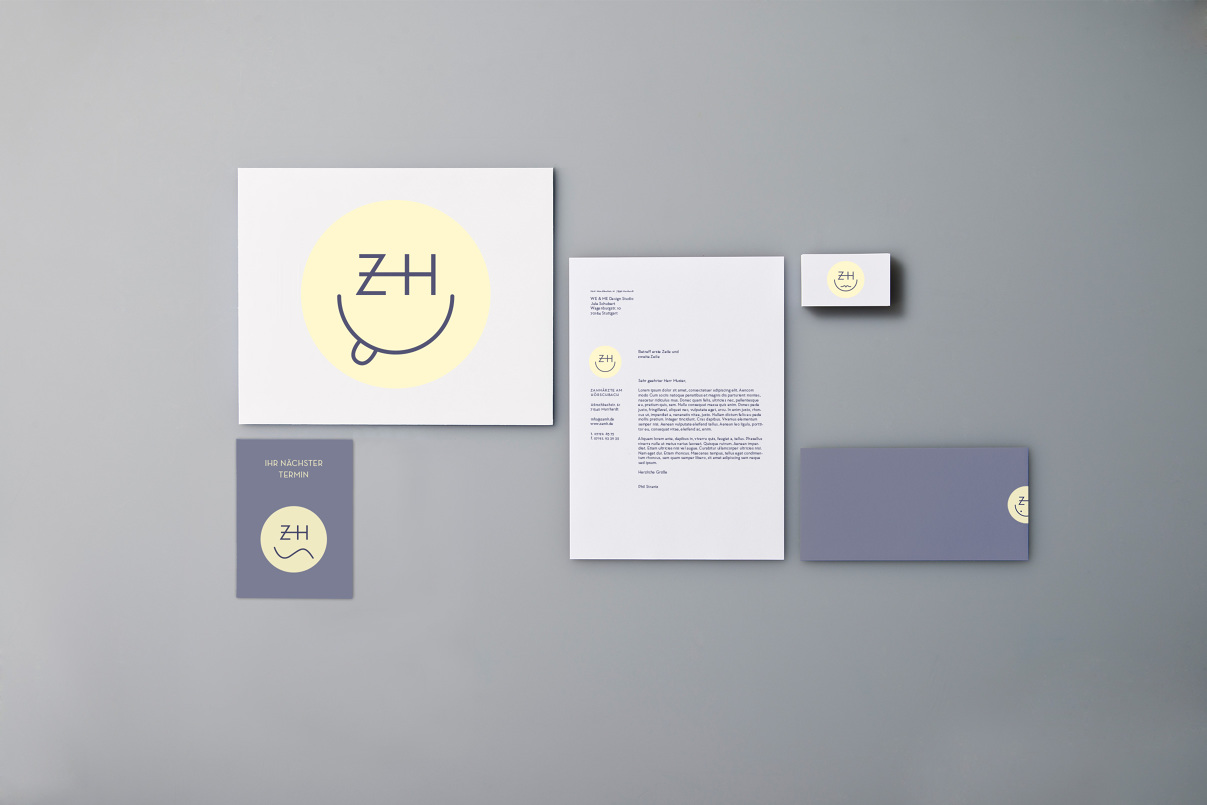 Briefbogen, Compliment Slip, Terminzettel, Visitenkare, Zahnarzt, Corporate Design