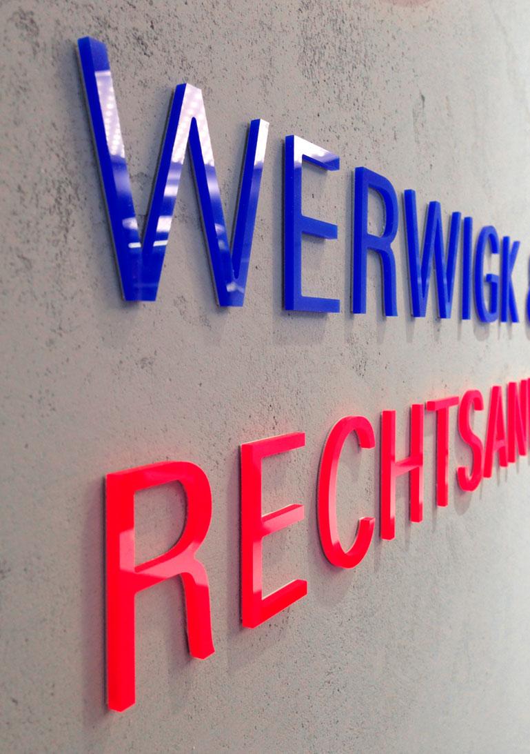 Beschilderung, Plexiglas, Rechtsanwalt, Stuttgart